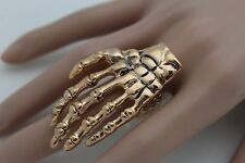 Stretch Band Skeleton Hand Long Fingers Women Gold Metal Ring Fashion Jewelry