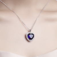 3ct Heart Cut Blue Sapphire Diamond Halo Pendant and Chain 14k White Gold Finish