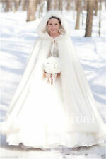 Noble Ivory Bridal Winter Wedding Long Cloak Cape Faux Fur Bridal Mantles 135 cm