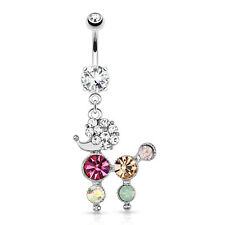 Poodle with Multi Colored Gems Dangle 316L Surgical Steel Navel belly Ring