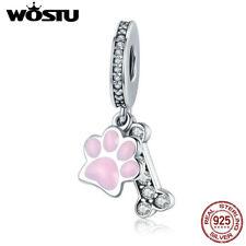 Wostu 925 Sterling Silver Dog Paw And Bone Charm Beads Fine Silver Jewelry