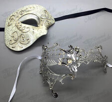 His & Her Couple Masquerade Mask, Silver Themed Phantom Mask [Clear Rhinestones]
