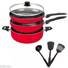 Stone Ceramic Cookware Pan Set (Red) ZYW