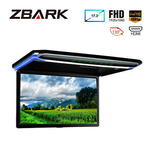 "17.3"" Flip Down Car Roof Monitor Ceiling Overhead HD TFT Screen 1080P USB HDMI"