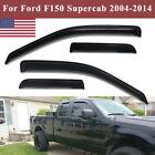Fit Ford F150 Supercab 2004-2014 Window Visor Vent Rain Guards Shades Deflectors