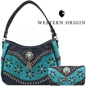 Western Handbag Concealed Carry Purse Feather Women Shoulder Bag Wallet Turq