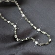18K WHITE GOLD PLATED SINGAPORE TWIST CHAIN NECKLACE 45CM 1.8mm