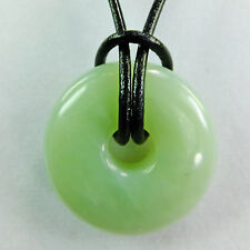 "Light Green Aventurine 1 1/4"" Polished Translucent Donut Leather Cord Necklace"