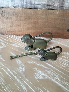 Vintage Brass Foo Dog Push Lock Figurine Padlock/Chinese Puzzle One With Key