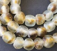 Matte Clear multi Colored Made in Ghana Recycled glass African trade beads-Ghana