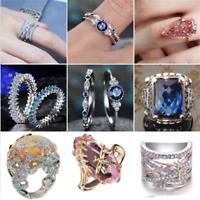Charm 925 Silver Orange Opal Gemstone Wedding Engagement Ring Jewelry Sz6-10