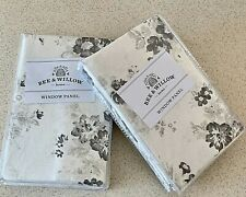 Bee & Willow Clearwell Rod Pocket Curtains Farmhouse Gray Shabby Chic Floral 95""