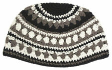 BIG JEWISH KIPPAH - Black White Gray Stripes
