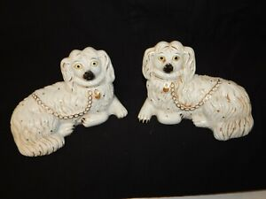 """VINTAGE PAIR OF STAFFORDSHIRE DOGS > 5 1/4"""" INCHES TALL > 100% ORIGINAL..."""