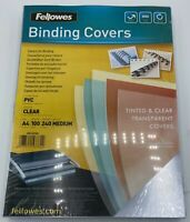 Fellowes Binding Binder Folder Covers 240gsm A4 Tinted Clear PVC 53762 Pack 100