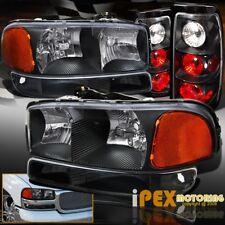 BLACK Set: 2004-2006 GMC Sierra 1500 2500 Headlights + Signal Light & Tail Light