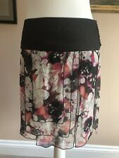 DVF DIANE VON FURSTENBERG 100% Silk Floral Print Tiered Mini Skirt US6 Wedding