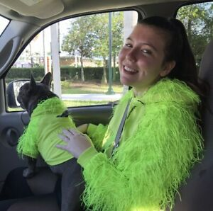 MOSHIQA Green I WOOF U Hoodie XS Feather Metallic Sweatshirt Top Neon Fringe