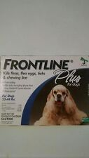 Frontline Plus for Dogs 23-44 lbs 3 Pack Genuine USA
