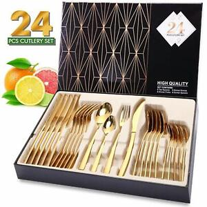 24 Piece Stainless Steel Cutlery Sets Tableware Dining Kitchen Fork Spoons Boxed
