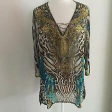 Embellished Kaftan Brown and Aqua Tones Resort Wear, Beach with Sleeves 8-10