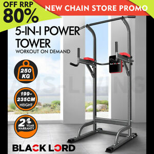 BLACK LORD Power Tower Chin Up Bar Push Pull Up Knee Raise Weight Bench