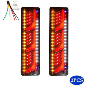 2x LED Truck Tail Light Auto Brake Running Turn Signal Reverse Indicator Lamp