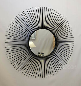 Large Metal Wire Frame Round Accent Wall Mirror Black Sunburst Design Retro 80cm