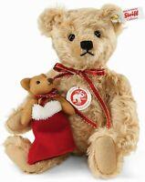 """Steiff LENARD Christmas TEDDY BEAR WITH Mini Teddy In Boot Mohair 9.8"""" (25cm)"""