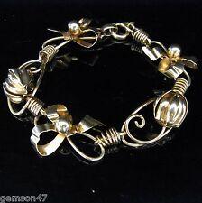 Retro 10k Yellow Gold Bracelet Vintage Bows and Floral  Mid Century Estate 1940s