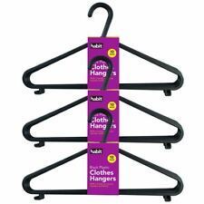 30 x BLACK ADULT PLASTIC COAT HANGER CLOTHES TROUSERS HANGERS TROUSER BAR & LIPS