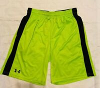 Under Armour Mens Athletic Shorts Sz Large Stretch Waist Neon Green Black (n)