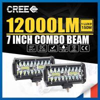 """2x 7""""Zoll 480W Phare de Travail Barre à LED Feux Projecteur Offroad 4x4 JEEP 12V"""