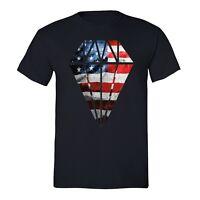 American Flag distressed Diamond Vintage 4th of July T-shirt  USA Shirt Black