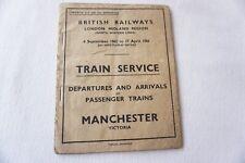 More details for 1965 manchester london midland arrivals departures timetable railway trip notice