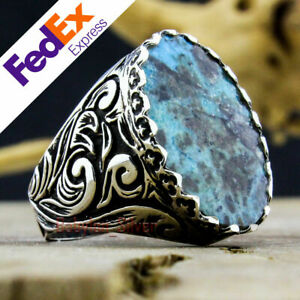 Natural Turquoise Stone 925 Sterling Silver Turkish Handmade Men's Ring All Size