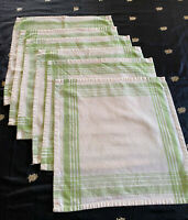 """Set of 6 Ecru & Green 16"""" Square Napkins, No Stains, Exc Cond"""