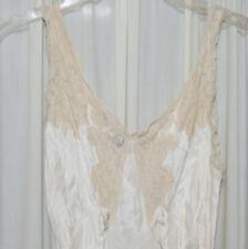 Women's VINTAGE Nightgown 1930s Antique Satin Bias Cut Chantilly Lace Rayon 34