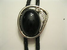 BOLO TIE #8915 - Black Stone in Silver Plated Frame