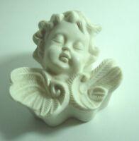 "CERAMIC PORCELAIN TRINKET DISH BOX JEWELRY LID WHITE ANGEL CHERUB DESK VANITY 4"""
