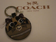 COACH CAT LEOPARD OCELOT ZIPPERED SUEDE LEATHER KEY CHAIN KEY RING FOB - F62982