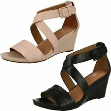 Clarks Wedge 100% Leather Sandals & Beach Shoes for Women