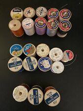 Lot 22 vintage wooden & Plastic spools Sewing thread Mix Coats & Clark's, Talon