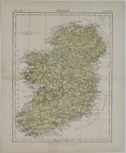 Original 1881 Britannica Map IRELAND Dublin Londonderry Galway Belfast Waterford