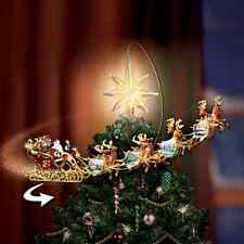 Thomas Kinkade Revolving Christmas Tree Topper Santa Sleigh Reindeer Star Light