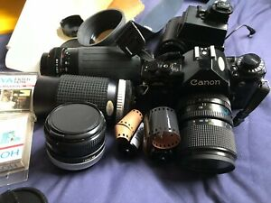 Canon A-1 - SLR Film Camera - plus lenses, flash, bag and other accessories