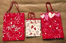 Lot of 3 Vintage Gift Bags - Valentine's Day - Happy Hearts Day - Love