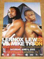 MIKE TYSON vs. LENNOX LEWIS ORIGINAL 2002 FIGHT POSTER / VINTAGE in MINT RAR
