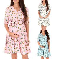 Pregnant Women Wrap Belt Mini Dress Vneck Short Sleeve Maternity Travel Sundress