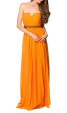George - Natalia Strapless Gown | Orange Chiffon Silver Sequins | Size 10